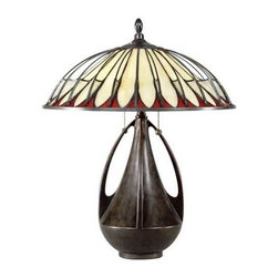 Quoizel Lighting - Tiffany Table Lamp - TF6855BC - This table lamp features a beautiful art glass in a contrasting color palette of cream, red, and black. Curved bronze-finished wire fins arch around the exterior of the shade's conical interior, giving an illusion of a ribbed bowl and creating a three-dimensional element. The bronze-finished base is an urn with three long trophy arms, which mimic the arched wire and provide an unconventional twist on traditional lamp shapes. Decorative yet useful, this piece is an aesthetic choice for reading or general task lighting in the living room or bedroom. Takes (2) 75-watt incandescent A19 bulb(s). Bulb(s) sold separately. ETL listed. Dry location rated.