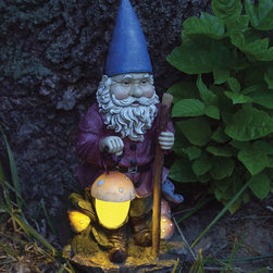 Echo Valley - Hiking Solar Gnome - A single solar rechargeable Ni-Mh battery powers the LED light of this adventurous gnome for up to 6 to 8 hrs. depending on light exposure level. The solar panel absorbs energy from any light source and the light sensitive photocell automatically turns th