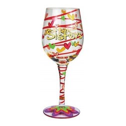 Westland - 9 Inch Decorative Sisters Multi-Colored 15 0z Wine Glass with Hearts - This gorgeous 9 Inch Decorative Sisters Multi-Colored 15 0z Wine Glass with Hearts has the finest details and highest quality you will find anywhere! 9 Inch Decorative Sisters Multi-Colored 15 0z Wine Glass with Hearts is truly remarkable.