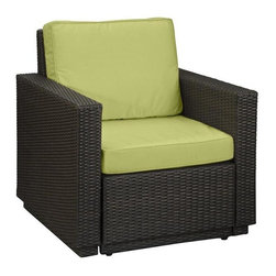 HomeStyles - Riviera Outdoor Arm Chair (Green Apple) - Color: Green AppleSeat and back cushions. Rust-resistant, powder-coated aluminum frame. 100% recyclable, moisture and weather resistant, low maintenance. Shaped legs with adjustable levelers to accommodate uneven surfaces. Bolted together for additional support and sturdiness. Polyurethane cushion fabrics with polyester fiber wrap. Stain resistant, fade resistant, water repellent fabric. Requires very little maintenance. Made from cycroplene. Deep brown color with a gold streak design. Made in Indonesia. Assembly required. 33 in. W x 29.5 in. D x 34.5 in. H. WarrantyRiviera Arm Chair, an economical solution for upscale outdoor furniture.