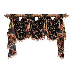 RLF Home - Stella Victory Swag, Black, 6 Scoop - The Stella Victory Swag is embraced by a beautifully embroidered floral and vine motif on faux-silk. Finished with lavish tassel-ball trim and chair-tie accents as shown, this style is fashioned with front-tabs for elegantly displaying from a decorative pole. This valance is 100% Polyester, unlined, and available in colors Beige, Black, Gold, and Ivory.