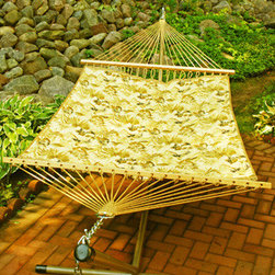 Algoma Net Company, Div. of Gleason Co - 13' Reversible Quilted Hammock - Isadora Sand/Walnut Rave - Spend some down time in this soft quilted fabric hammock. Relax outside, on a screened porch, or even indoors. This reversible weather resistant hammock gives you two different looks to choose from. Whatever your style and wherever you set up your hammock, it's all about daydreaming and leaving your cares behind. Made in the USA.