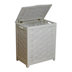 """Oceanstar White Finished Rectangular Veneer Laundry Wood Hamper with Interior Ba - Contemporary design for your bed or bath by adding this laundry hamper to your home decor. This laundry hamper is a solid wood construction hamper; it adds durability and elegance to any room and helps to keep your room neat and contemporary. This laundry hamper comes with a canvas bag and double hinges with hardware and other accessories to assemble. There are also rubber bumpers on the lid which help to prevent damage to the hamper. Two hand grips on the side makes it easy for you to carry your clothes to your laundry room or you can also take out the canvas bag to your laundry room. This beautiful hamper is functional while adds class and style to your room. Assembly required. Hamper Size: 24""""H x 13.5""""D x 20""""W. Assemble weight: 12 lbs."""