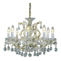 """Inviting Home - Maria Theresa Crystal Chandeliers (Select Crystal) - clear and gold Maria Theresa style crystal chandelier; 22"""" x 19""""H (8 lights); assembly required; 8 light clear select crystal chandelier with hand-molded arms and cut crystal trimmings; all metal parts have gold finish; genuine Czech crystal; * ready to ship in 2 to 3 weeks; * assembly required; This chandelier is a part of Maria Theresa Collection. At their start the chandeliers bearing the name of Maria Theresa were made on the occasion of the Empress's coronation as queen of Bohemia in 1743. This fact is hidden in the shape of these lighting fixtures reminiscent of the royal crown. Their characteristic feature is the arms' typical flat surface clad with glass bars. The bars are fixed to the arms by glass rosettes and beads with dangling cut crystal chandelier trimmings. These ravishing fixtures were inspired by a chandelier made for Maria Theresa in Bohemia in the mid 18th century. However not only the empress became fond of it; so did many others who fancied the style and the majestic manners after her. Typical elements are metal arms overlaid with glass bars and decorated with crystal rosettes. Originally the trimming was made of typical flat drops called """"pendles"""". Today trimmings of various shapes are used. Select crystal (or standard). Hand cut or partly machine cut chandelier trimmings. Inspired by rich glassmaking tradition as well as modern trends these crystals are characterized by distinct fire rainbow sparkle and purity of shape. Each piece is checked for accuracy of cut and its high quality is guaranteed. They will satisfy even the most discriminating customers. Chandelier trimmings of the Select type offer an opportunity to those searching for quality at a great value. Every component passes thorough strict internal Quality Control processes. Highest quality European production with certified standards. UL approved - dry location; hardwire; 8x E12/14 - 40W bulbs; bulbs not included."""