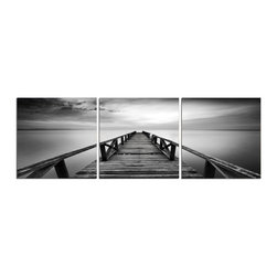 Elementem - Pier In Chrome Print - This frameless triptych photograph of Pier In Chrome is printed on vinyl and mounted on a wooden MDF frame.   We laminate over each of our photos to allow them to be easily cleaned and protected.  Packed with wall hangers, they are easy to install.