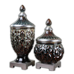 "Uttermost - Uttermost Tailor Dark Blue Ceramic Urns Set of 2 19759 - Dark blue ceramic with honey and ivory drips and silver leaf accents. Removable lids. Small size: 6""W x 15""H x 6""D, Large size: 6""W x 19""H x 6""D."