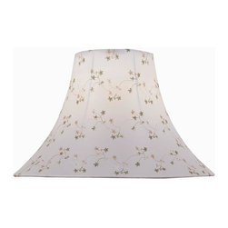 Lite Source - Jacquard Bell Shade in White (7 in. Dia.) - Choose Size: 7 in. Dia.. 6 in. Shade:. Shade top: 6 in. Dia.. Shade bottom: 16 in. Dia.. Shade height: 12 in.. Weight: 1.95 lbs.. 7 in. Shade:. Shade top: 7 in. Dia.. Shade bottom: 18 in. Dia.. Shade height: 12.5 in.. Weight: 2.2 lbs.