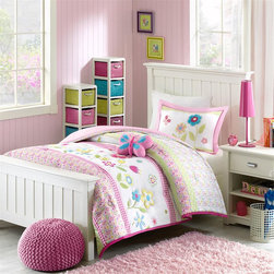 Mizone Kids - Mizone Kids Spring Bloom Comforter Set - Spring Bloom is adorned with pink, green and blue flowers to complete a young girl�۪s blossoming bedroom. A pink border frames the comforter and a pink and white gingham print covers the reverse. Each image is outlined and quilted creating added dimension to this bright collection. This comforter set includes one sham with an applique center and one plush decorative pillow. Comforter/sham: face 100% polyester peach skin printed with shaped quilting, 100% polyester brushed fabric reverse Filling: 200g polyester Pillow: 100% polyester shell, 100% polyester filling