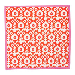 """Origin Crafts - Ikat vermillion placemats (set of 4) - Ikat Vermillion Placemats (Set of 4) The print of a thousand compliments... our new Ikat pattern is hand block printed with vibrant reds, perfect for brightening up a fall dinner party. 100% cotton canvas. Machine wash cold, tumble dry low, warm iron as needed. Made in India. Dimensions (in):13"""""""