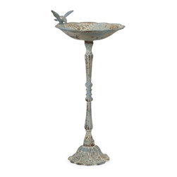 iMax - iMax Santon Blue Birdbath - Small X-64478 - This small bird feeder features a rustic, aged finish in pale blue. Place in the garden with some bird food to provide a delightful treat!
