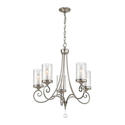 Kichler Lighting - Kichler Lighting Lara Traditional Chandelier X-PLC16824 - Modern finishes give an updated look and feel to the classic style of this Kichler Lighting chandelier. From the Lara Collection, it features a beautiful Classic Pewter finish that compliments the fluid scrollwork and traditional appeal. Five candelabra style lights are housed within clear exterior, white mottled interior glass cylinders that complete the look.