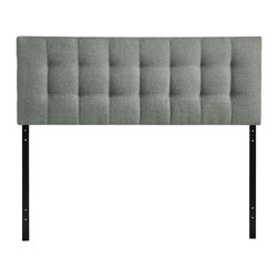 """Modway - Lily Queen Headboard in Gray - Introduce some boxy pizazz with the lavish design of the Lily headboard. Intended to be versatile for a wide range of modern bed styles, Lily's deep button tufting, and carefully aligned trim, present a uniform piece meant to cast prominence upon your room. Fully upholstered in padded faux leather, Lily is a narrow piece meant to convey a strong sense of expansiveness within your entire surroundings. Set Includes: One - Lily Headboard. Contemporary queen sized headboard; Deep button tufting; Headboard only; Wipe clean with a slightly damp cloth; Assembly required; Overall Product Dimensions: 3.5""""L x 61.5""""W x 28""""H"""