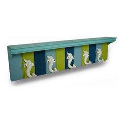 Zeckos - Distressed Finish Dolphin Themed Wood and Cast Iron 5 Hook Wall Shelf - This distressed finish 5 hook wall rack / shelf is great for hanging coats and scarves in hallways and mud rooms, or for hanging coffee mugs in the kitchen. The rack features 5 cast iron dolphin hooks, each measuring 5 inches by 2 5/8 inches. The hooks have a chipped and weathered off-white enamel finish. They are mounted to a 34 1/2 inch by 8 inch wooden base with a striped blue and green weathered finish. A 4 3/8 Inch deep shelf on top completes the piece, giving you extra storage room for accessories or decorative collectibles. It's a great shabby chic addition to any room.