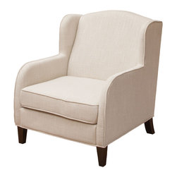Great Deal Furniture - Corey Wingback Upholstered Club Chair - With its wide stance and overall soft padding, The Corey Natural Club Chair is stunning in its simplicity. And perfect for any room