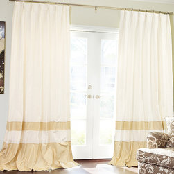 Custom Drapery & Roman Shades by DrapeStyle - Double-Bordered Silk Drapes.