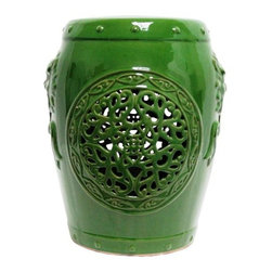 Angier Green Ceramic Garden Stool - Glossy green glazed ceramic garden stool with cutwork scroll pattern and fu dog details on the sides.