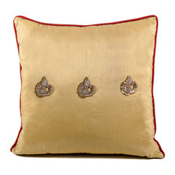 De-Cor - Peacock Sage Silk Pillow, Golden Sand - A perfect balance of luxury and comfort, the Peacock Sage pillow is silk based and features hand-done thread-work and beading.