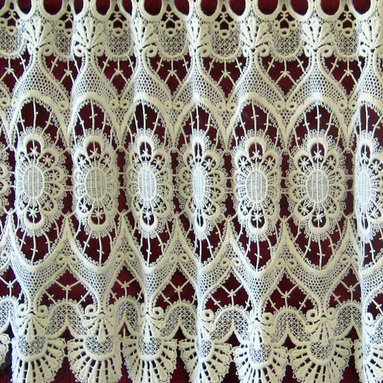 "Macrame Ring Lace - Marquise pattern - Imported from France by Heritage Lace available as a Valance or Tier in three lengths. The 12"" is 8.95 per foot.  Woven continuously as wide as needed to fit any width window."