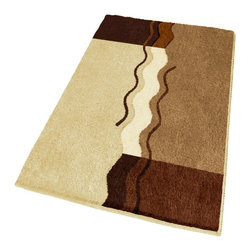 "Extra Large Modern Brown Bathroom Rug (27.6"" x 47.2"") - Oversized stylish non slip bathroom rugs are hard to find. Our unique extra large contemporary bath rug has a unique sculpted .98in pile, with a non-slip / non-skid backing. Color tones include toffee, light beige, dark mahogany and light butter cream. Machine Washable. Designed and produced in Germany."
