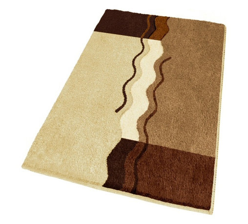 """Extra Large Modern Brown Bathroom Rug (27.6"""" x 47.2"""") - Oversized stylish non slip bathroom rugs are hard to find. Our unique extra large contemporary bath rug has a unique sculpted .98in pile, with a non-slip / non-skid backing. Color tones include toffee, light beige, dark mahogany and light butter cream. Machine Washable. Designed and produced in Germany."""