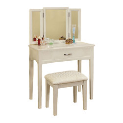 Adarn Inc. - 3 Piece Tri-Folding Mirror Vanity Set Make up Table Upholstered Stool, White - This sleek contemporary vanity set will be a stunning addition to your bedroom or dressing area. It has a hinged three side mirror, easy slide drawer for storage and a padded vanity stool. The vanity has clean lines, with square tapered legs, and a center drawer to store brushes and frequently used items. The hinged three side mirror will add light to the room, while adding another convenient touch to help you get dressed. The matching stool features comfortable padded fabric covered seat. This simple and stylish set is available in White, Black and Espresso finish. Select your favorite one to your home for the ultimate in luxury, and a stunning completion to your room's ensemble.