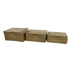 Oriental Furniture - Hand Woven Covered Storage Bin ( Set of 3 ) - The design of these storage bins is a simplified version of the steamer trunk which was popularized in the late 1800's. While originally used for travel, this version includes three different sizes perfect for storage or decoration. The attached covers make it easy to keep things out of sight.