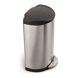 simplehuman - simplehuman 10.5-gal Brushed Steel Step Trash Can - This Simplehuman semi-round step can is designed for superior durability and strength with a durable,all steel pedal. The space-efficient shape and slim profile hinge make this trash can ideal for high-traffic areas.