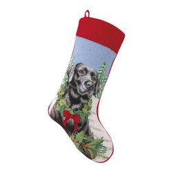 "Peking Handicraft - Black Lab Needlepoint Stocking - With its charming vintage design and intricate needle point quality– our adorable pet stockings are ready to fill with toys and treats for your best friends!  This well made stocking features a plush velveteen color coordinated back and is meant to last for years!  Indeed Decor will donate 20% of profits to animal rescue charities.  Dry Clean Only. 11"" x 18""."