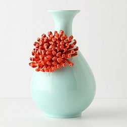 "Anthropologie - Curvy Chrysanthemum Vase - StonewareHand wash9""H, 6"" diameterImported"