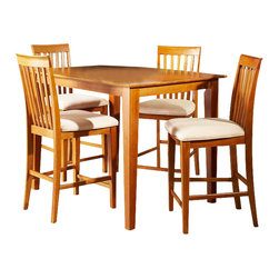 Atlantic Furniture - Atlantic Furniture Shaker 5 Piece Pub Height Dining Set-Caramel Latte - Atlantic Furniture - Dining Sets - AD84121207