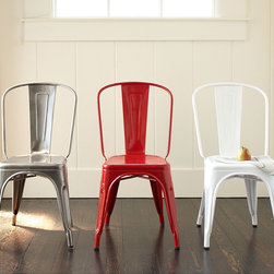 "Tolix Café Chair - These galvanized steel French bistro chairs are available from several retailers, but what I love about PB's version is that it comes in a perfect cherry red.Solidly built of rugged galvanized steel.Stackable up to eight high when space is at a premium.18"" wide x 18.5"" deep x 33.5"" high"