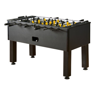 Tourney Foosball Table - Give your game room a modern look with this sleek foosball table. No den is complete without a classic foosball table, this beauty will provide ease of play as well as a sharp look. Game on!
