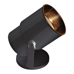 """ProTrack - Contemporary Compact Fluorescent  Accent Black Floor Uplight - A can light that's great for illuminating small items in the home. This uplight has a black finish. A perfect light for accenting your home. Included one 13 watts CFL bulb. 8"""" high. 4"""" wide.  Black finish.   Adjusts to focus light.   One 13 watts CFL bulb included.   Comparable to a 60 watts incandescent bulb.   4"""" wide.   8"""" high.   7.5' cord included.   From the can the on/off switch is 18' on the cord."""