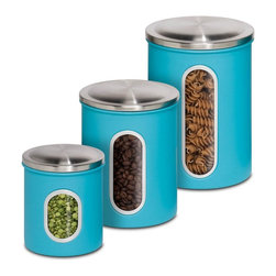 Honey Can Do - Metal Kitchen Storage Canisters - Set of 3 - 3 Pack Metal Storage Canisters. 0.8L (29.4 oz.), 1.8L (60.8 oz.), 2.6L (91.2 oz.) capacity