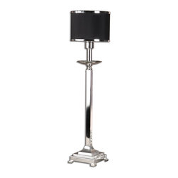 Carolyn Kinder - Carolyn Kinder Tuxedo Transitional Buffet Lamp X-1-95892 - This metal lamp is silver-plated and topped with a round, black hardback drum shade with silver-plated metal trim.