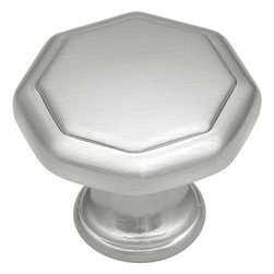 """Hickory Hardware - Conquest Satin Nickel Cabinet Knob, 1 1/8"""" - Bridges contemporary and traditional design. Offering a deep rooted sense of history in some, with an updated feel and cleaner lines."""
