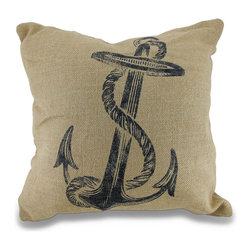 Zeckos - Nautical Anchor and Rope Natural Jute/Burlap Throw Pillow 18 in. - This wonderful throw pillow will add both a nautical and a natural accent to your room and existing decor, and is great for a sea side cottage with a natural burlap cover made from 100% jute, and features a glorious ship's anchor and rope on the front. The reverse side has a hidden zipper that makes cleaning easy, and is 100% polyester filled. This 18 inch (46 cm) high by 18 inch (46 cm) long pillow would look great completing your bedding ensemble or rocking in the chair on the porch. Wherever it's displayed, it's certain to receive many compliments, and would make a wonderful gift for any nautical decor admirers!