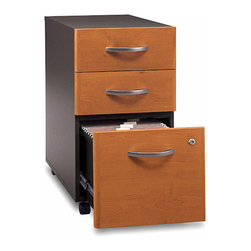 Bush Business - Assembled Three Drawer Rolling File - Series - Classic styling combines with the great versatility of casters.  Rolling file cabinets can be used as standalones or to create an ensemble grouping.  Three drawers with single locking mechanism hold supplies and hanging folders.  Two-tone case is assembled before shipping.  One lock will secure the bottom two drawers, keeping your letter, legal, and A4 files confidential and private. * Rolls under any Series C desk shell. File drawer holds letter, legal or A4 files. Fully finished drawer interiors. File drawer extends on full extension, ball-bearing slides. One lock secures bottom two drawers. Fully assembled case goods. 15.709 in. W x 20.276 in. D x 28.110 in. H