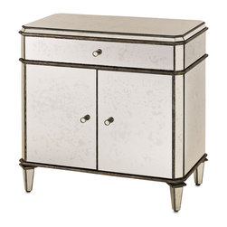 Kathy Kuo Home - Hollywood Regency Antique Mirror Nightstand - This antique mirrored piece is hand finished and constructed from wood that is finished with hand painted silver leafing and aged mirror. The finest materials combined with superior craftsmanship make this piece a stunning accent in your space. There is one top drawer that sits on a metal glide for ease of use and one set of doors that reveal an open space, perfect for stacking additional plates, linens, etc.