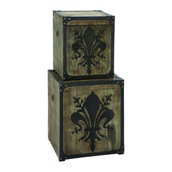 Benzara - French Fleur-de-Lis Storage Box Set With Aged Wood - This charming storage box set is sure to please, for the decor and for ease of storage. Ideally placed on the end table in the den or in the children's play room, these storage boxes are tough as nails and can fit virtually anything and everything inside. Perfect for a gift, these charming boxes are a beautiful storage space.