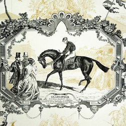 Horse toile fabric Gladiateur equestrian gold, Standard Cut - A horse toile fabric. An equestrian toile fabric in gold and black. This is a classic! A wonderful pattern with vintage race horse scenes.