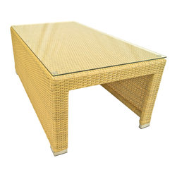 Dola - Outdoor Wicker Coffee Table with Chrome Feet and Aluminum Frame, Honey Wicker - Take your morning coffee outdoors with this rectangular coffee table! It is the perfect accessory to your sectional or sofa set. Constructed of durable PE wicker, this versatile piece can be used as an accent table to enhance any outdoor space. The tempered glass top is easy to clean and helps protect from spills and crumbs getting caught in the wicker. No assembly required. The item comes with a 2 year warranty on the frame and 1 year on the resin wicker.