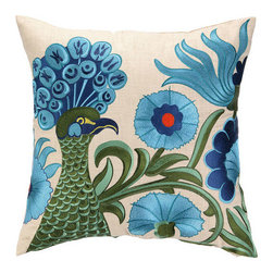 "Peking Handicraft Inc. - D.L. Rhein Green Peacock Embroidered Pillow 20X20"""""" - DF 100% RAMIE"