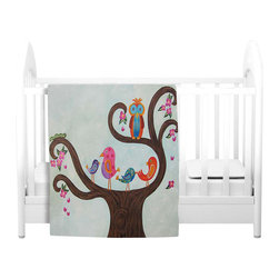 DiaNoche Designs - Throw Blanket Fleece - Tree Party III - Original Artwork printed to an ultra soft fleece Blanket for a unique look and feel of your living room couch or bedroom space.  DiaNoche Designs uses images from artists all over the world to create Illuminated art, Canvas Art, Sheets, Pillows, Duvets, Blankets and many other items that you can print to.  Every purchase supports an artist!