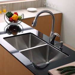 Kraus - Kraus KHU102-33-KPF2120-SD20 Double Basin Undermount Kitchen Sink with Faucet Mu - Shop for Kitchen from Hayneedle.com! You'll be able to keep your kitchen moving right along with the Kraus KHU102-33-KPF2120-SD20 Double Basin Undermount Kitchen Sink with Faucet and its forward-thinking design. A twist from a single lever smoothly operates the faucet that easily doubles as a strong sprayer. Since this set is made from stainless steel you won't need to worry about corrosion even years down the line.Product SpecificationsNumber of Basins: 2Bowl Depth (inches): 10Weight (pounds): 38Low Lead Compliant: YesEco Friendly: YesMade in the USA: YesHandle Style: LeverValve Type: Ceramic DiscFlow Rate (GPM): 2.2Spout Height (inches): 8Spout Reach (inches): 10About KrausWhen you shop Kraus you'll find a unique selection of designer pieces including vessel sinks and faucet combinations. Kraus incorporates its distinguished style with superior functionality and affordability while maintaining highest standards of quality in its vast product line. The designers at Kraus are continuously researching and exploring broader markets seeking new trends and styles. Additionally durability and reliability are vital components at Kraus for developing high-quality fixtures. Every model undergoes rigorous testing and inspection prior to distribution with customer satisfaction in mind. Step into the Kraus world of plumbing perfection. With supreme quality and unique designs you will reinvent how you see your bathroom decor. Let your imagination become reality!