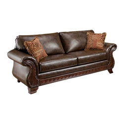 Chelsea Home Furniture - Chelsea Home Jefferson Sofa in New Era PU Walnut - Thailand Spice Pillows - Jefferson Sofa in New Era PU Walnut - Thailand Spice Pillows belongs to the Chelsea Home Furniture collection .