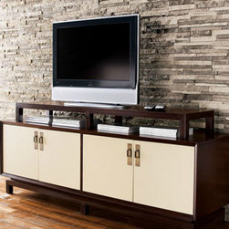 Vanguard Entertainment Console - This espresso-finished console with plasma TV stand has four linen-colored painted door fronts and two adjustable interior shelves. Handcrafted of mahogany veneers and composite wood. Wire management box included.
