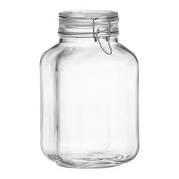 Fido 3-Liter Jar with Clamp Lid - Italian storage jars are stylish with large openings for easy access. Lids clamp down on foods with vulcanized rubber gaskets for an airtight seal.
