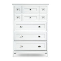 Magnussen - Magnussen Furniture Kentwood Drawer Chest in White - The elegant yet casual styling of the Kentwood collection is highlighted with a painted white finish and nickel pulls.  The clean lines and classic appearance of this collection brings timeless charm and comfort.