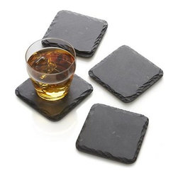 Set of 4 Slate Coasters - Beautiful, hand-shaped coasters of natural slate show off their uniquely chiseled edges, providing an earthy and naturally stain-resistant resting place for glasses.